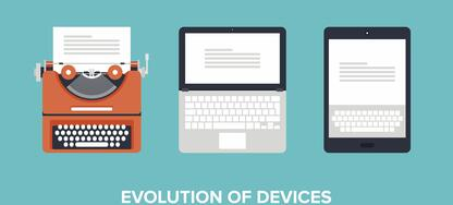 Evolution of devices from typewriter to laptop to a modern tablet