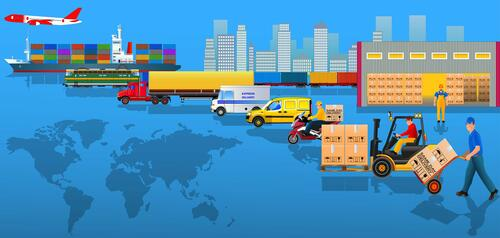 Planes, trains, trucks and other transportation vehicles make world-wide deliveries.