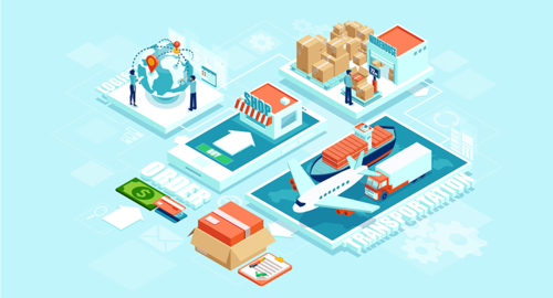 Automated delivery logistics network distribution with people, warehousing, and logistics transportation machinery. Impact of blockchain on the supply chain.