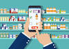 Man uses cell phone to make a pharmaceutical purchase in a pharmacy. Technology trends affect life science supply chains.